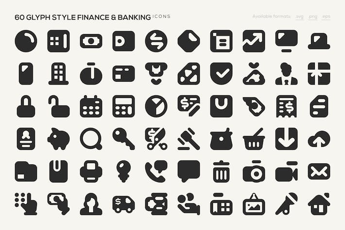 Thumbnail for 60 Glyph Style Finance & Banking Icons