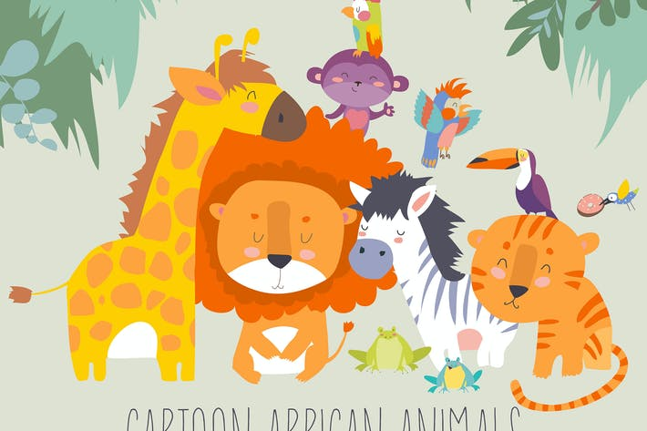 Thumbnail for Happy jungle animals. Best friends. Vector