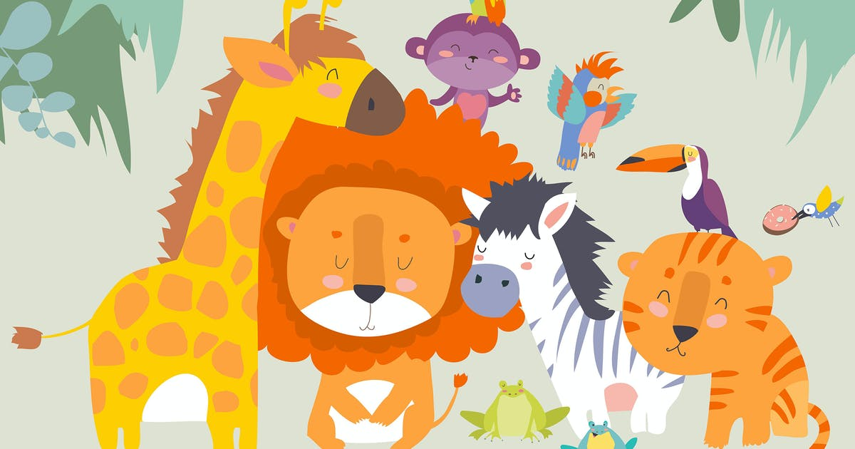 Download Happy jungle animals. Best friends. Vector by masastarus
