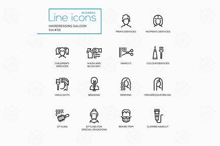Friseur Salon - moderne Vektor linie Icons