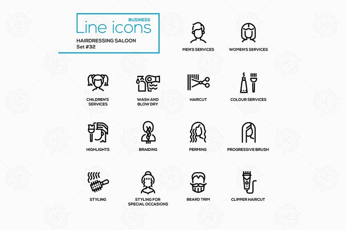 Thumbnail for Hairdressing Saloon - modern vector line icons
