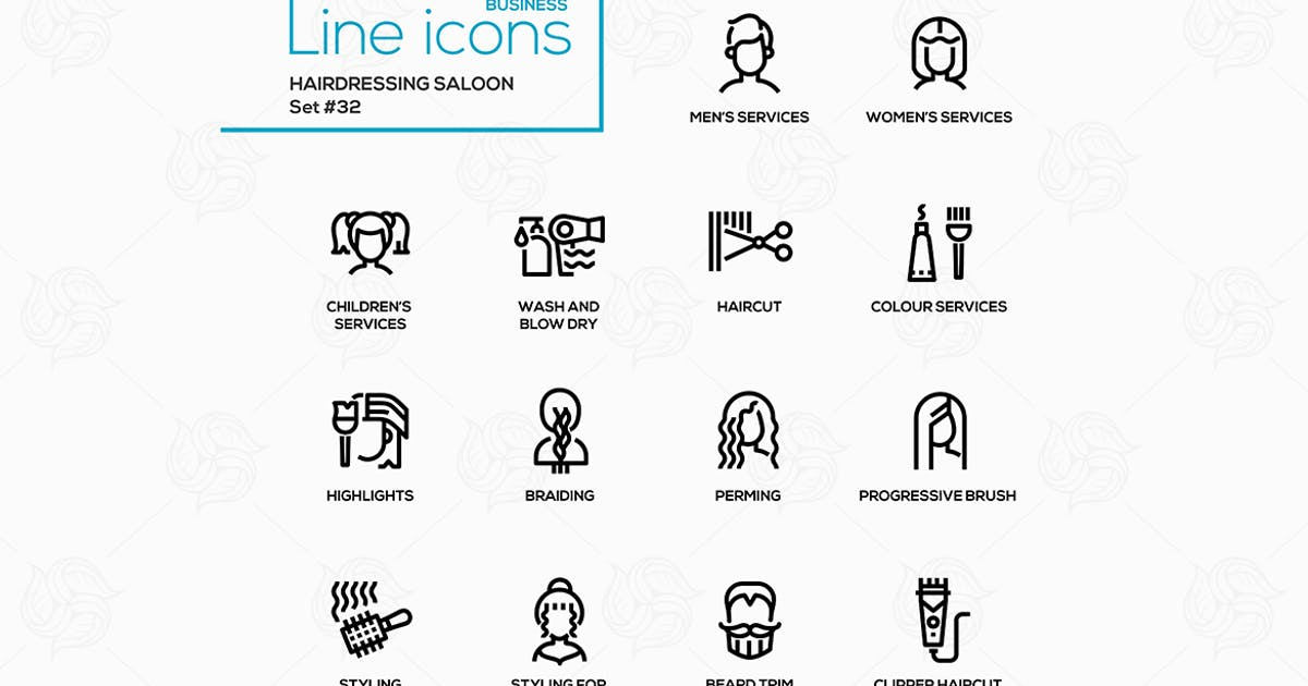 Download Hairdressing Saloon - modern vector line icons by BoykoPictures