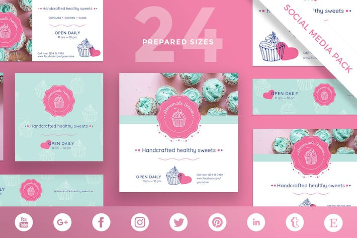Thumbnail for Handcrafted Sweets Social Media Pack Template