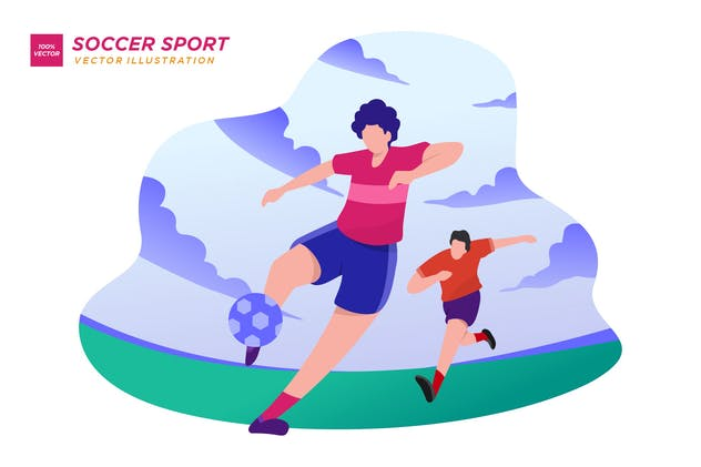 Soccer Sport Flat Illustration