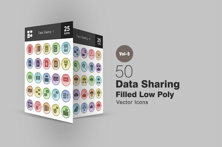Thumbnail for 50 Datenfreigabe gefüllt Low Poly Icons