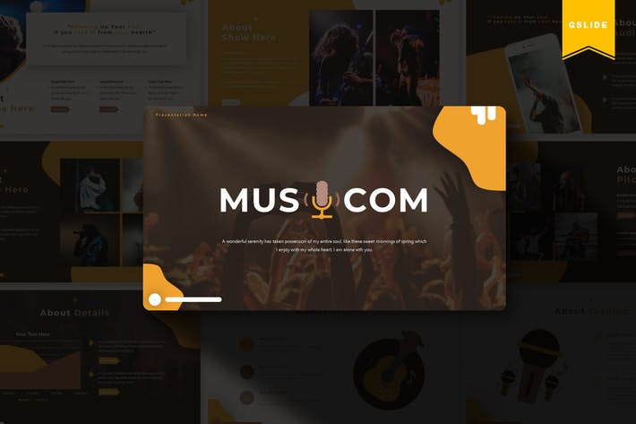 Thumbnail for Musicom | Шаблон слайдов Google