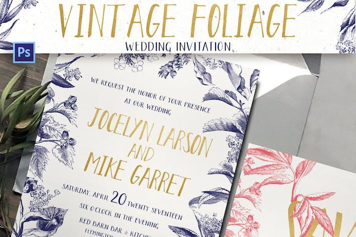 Thumbnail for Vintage-Foliage-Hochzeitseinladung
