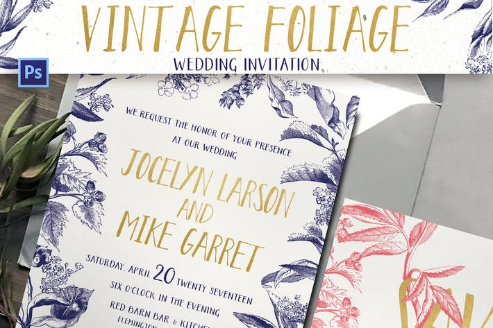 Thumbnail for Invitation de mariage feuillage vintage