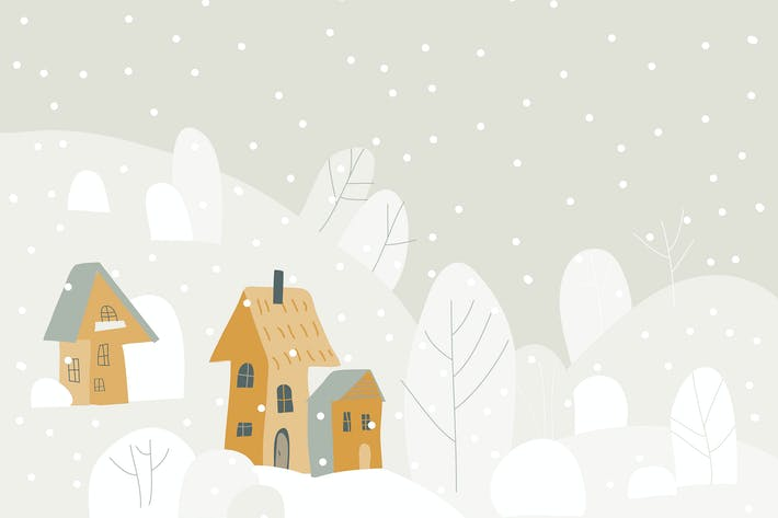 Thumbnail for Cartoon winter landscape with cottages and trees.