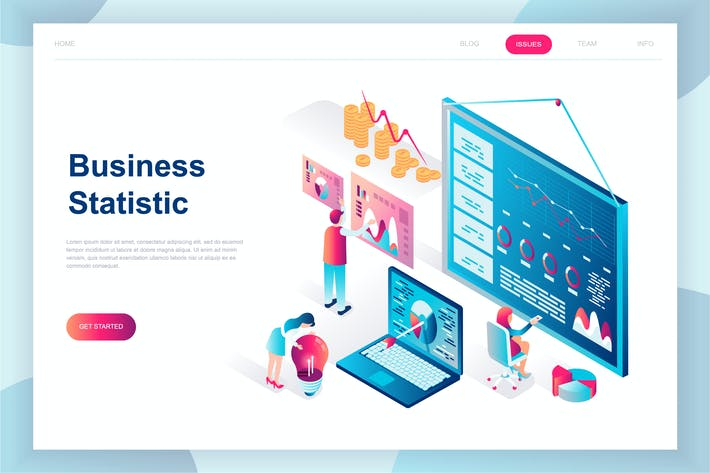 Thumbnail for Business Statistic Isometric Landing Page