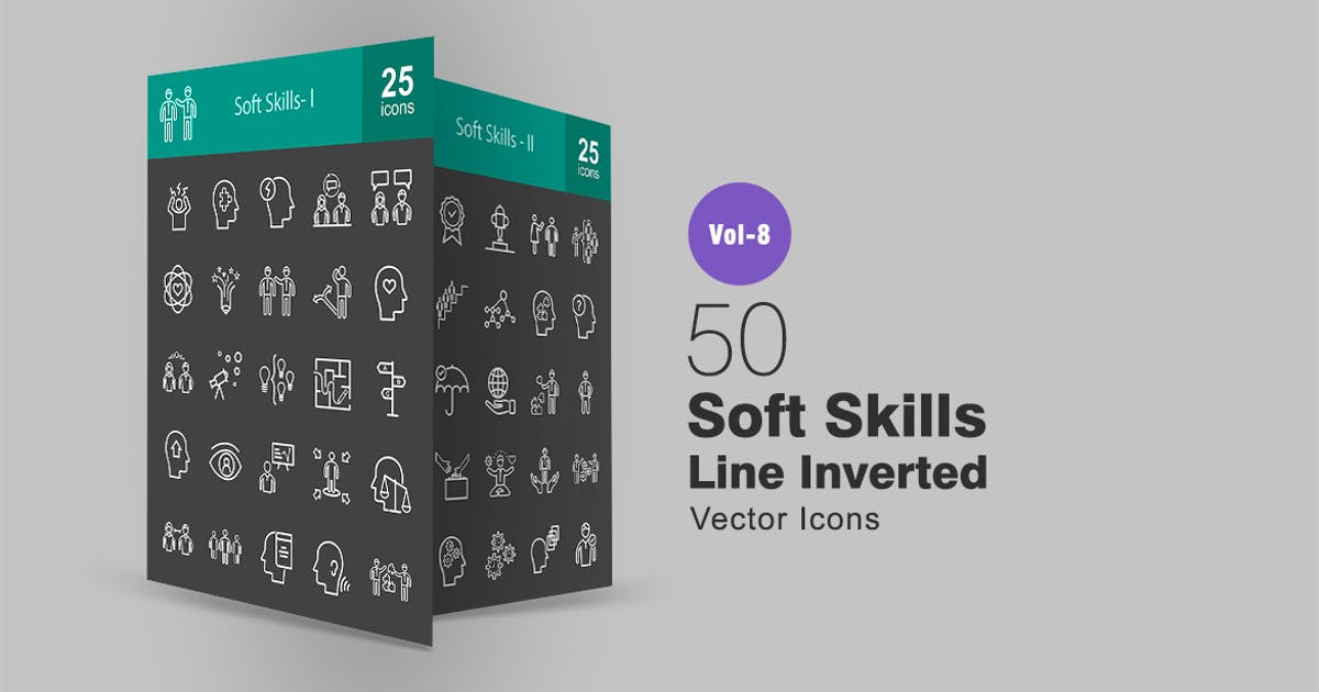 Download 50 Soft Skills Line Inverted Icons by IconBunny