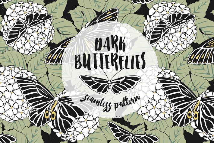 Thumbnail for Dunkle Schmetterlinge - Handgezeichnetes Nahtloses Muster