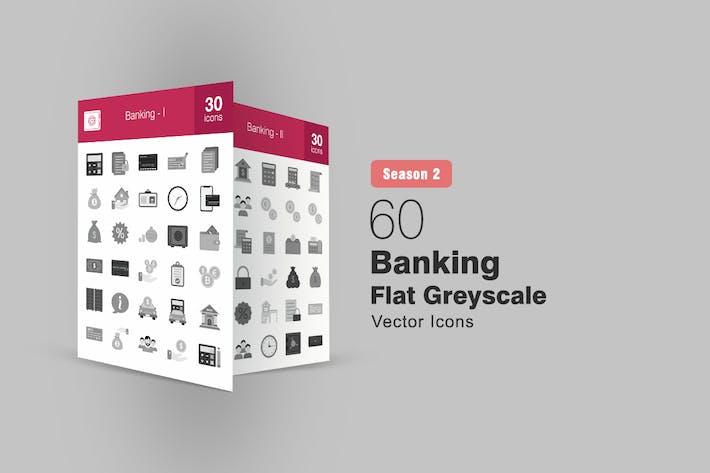 Thumbnail for 60 Banking Flat Greyscale Icons Season II