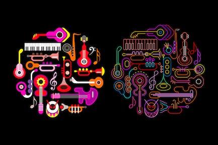 Musical Instruments Neon round shape vector design