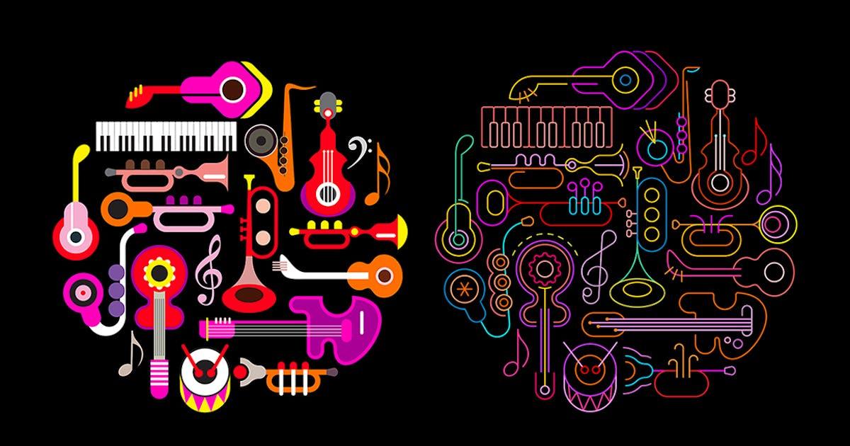 Download Musical Instruments Neon round shape vector design by danjazzia