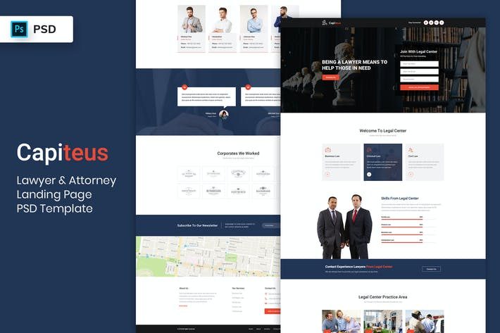 Thumbnail for Lawyer & Attorney - Landing Page PSD Template