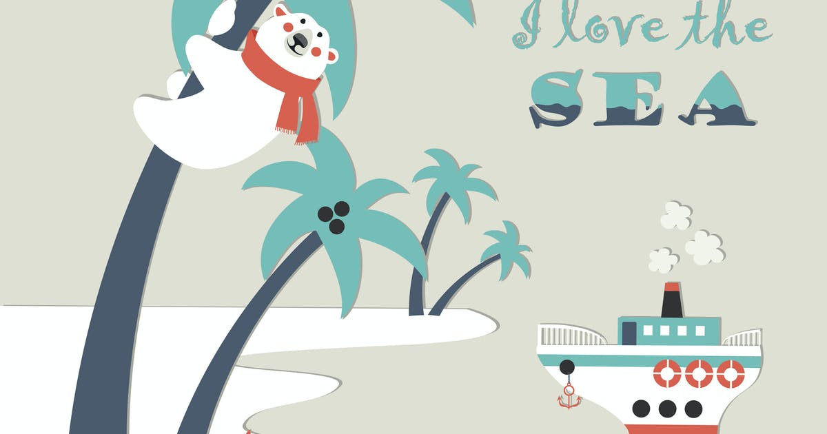 Download Cute polar bear climbed a palm tree. Vector by masastarus