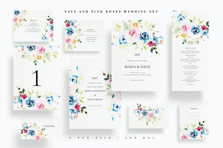 Thumbnail for Navy and Pink Roses Wedding Set EZ