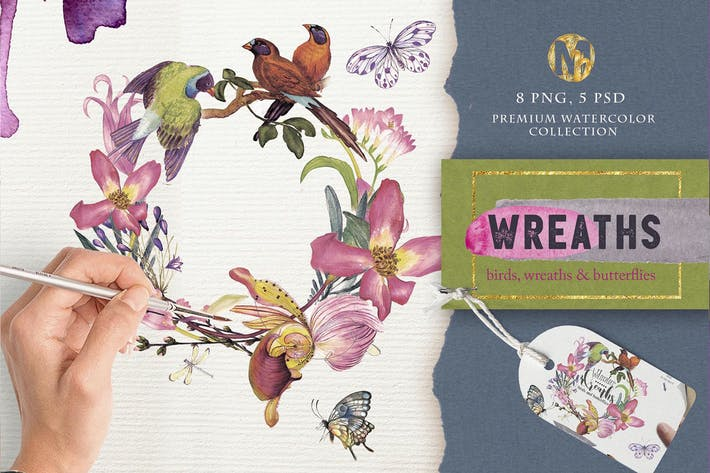 Thumbnail for Watercolor wreaths psd, png