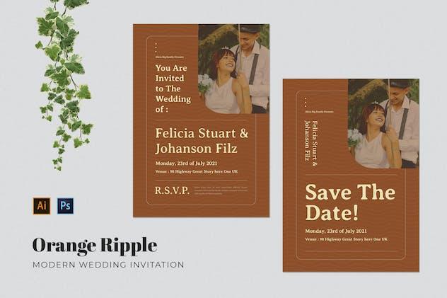 Orange Ripple Wedding Invitation