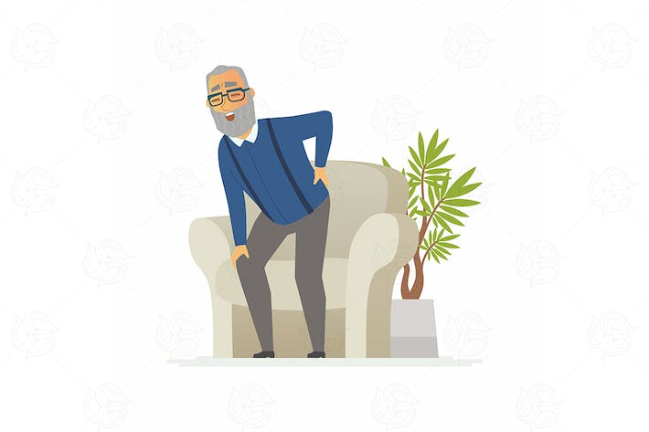 Senior man with a backache - vector illustration