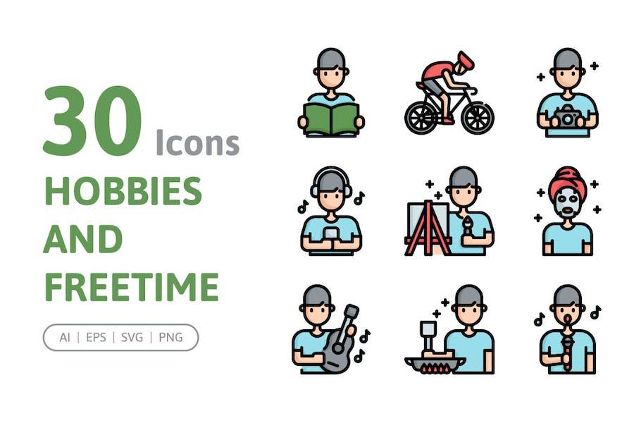 30 Hobbys und Freizeit-Icons