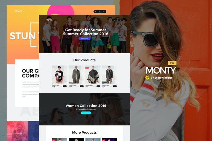 Thumbnail for Monty - One & Multi Page PSD Template
