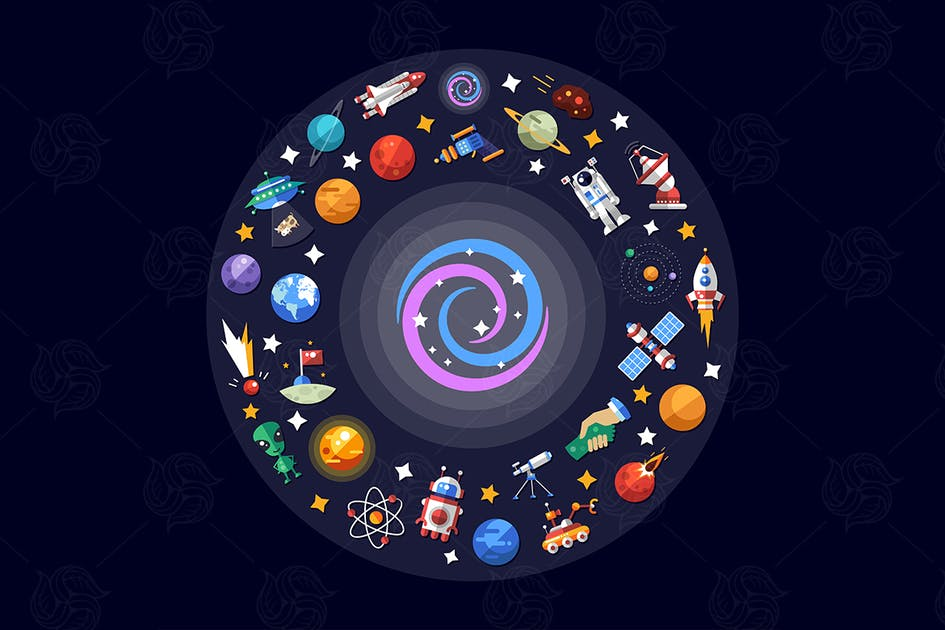 Download Space icons - set of vector flat cosmos images by BoykoPictures