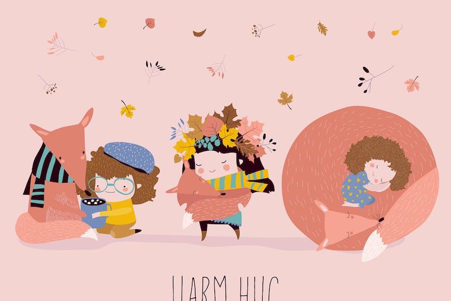 Lindas niñas de dibujos animados abrazando zorros. Mejores amigos.