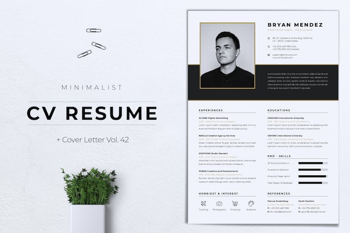 Thumbnail for Minimalist CV Resume Vol.42