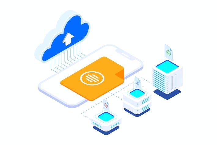 Thumbnail for Upload File Cloud on Blockchain Isometric 3 - T2