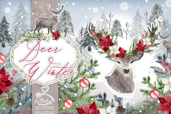 Thumbnail for Deer Winter design