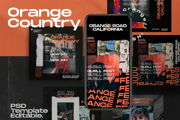 Thumbnail for Country Orange - Instagram Vorlage + Stories