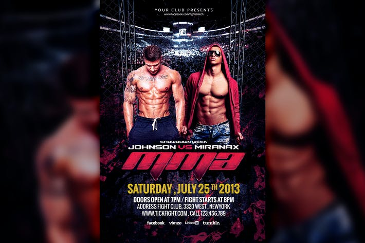 MMA Fight Night Flyer Template by HyperPix on Envato Elements