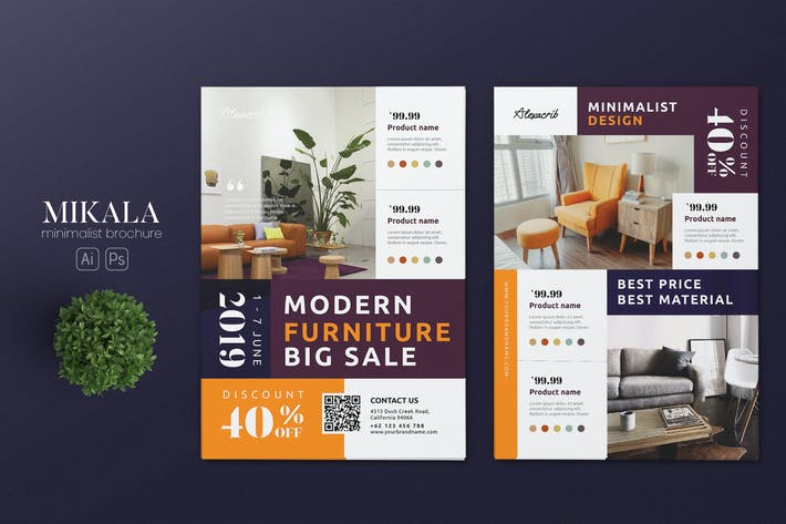 Thumbnail for Minimalist Furniture Store AI and PSD Flyer Vol.6