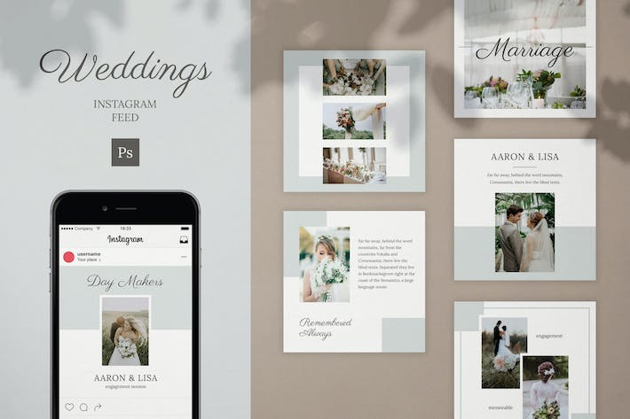 Thumbnail for Wedding Instagram Feed Post Template