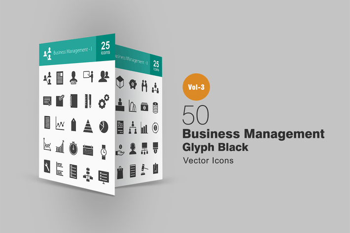 Thumbnail for 50 Business Management Glyph Icons