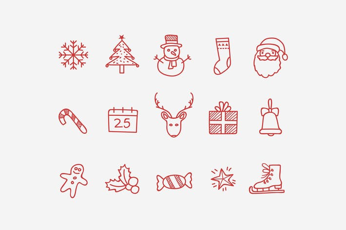 Thumbnail for 15 Christmas Doodle Icons