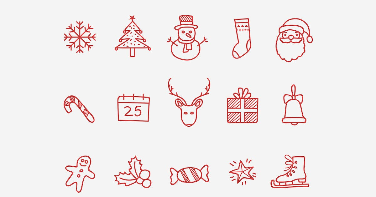 15 Christmas Doodle Icons by creativevip