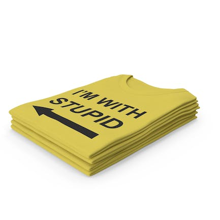 Female Crew Neck Folded Stacked Yellow Im With Stupid