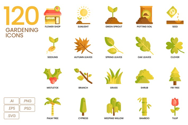 Thumbnail for 120 Gardening Icons | Caramel Series