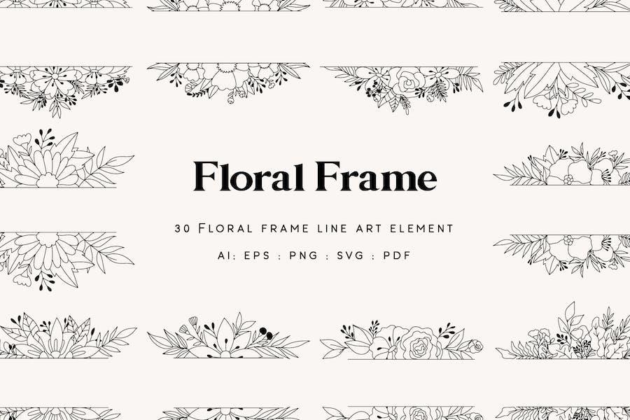 30 Floral Frame Element - Line art