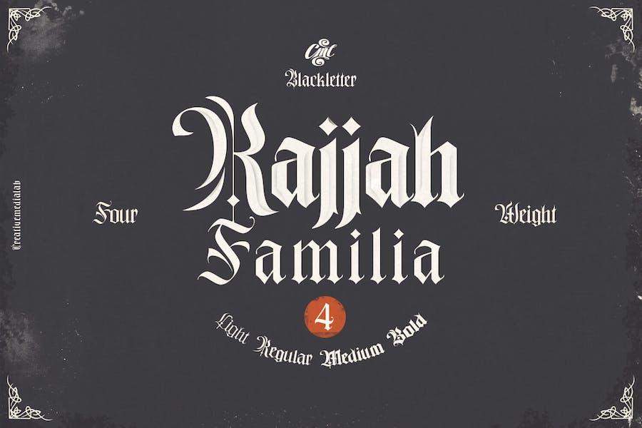 Rajjah Familia - Familia tipográfica Blackletter