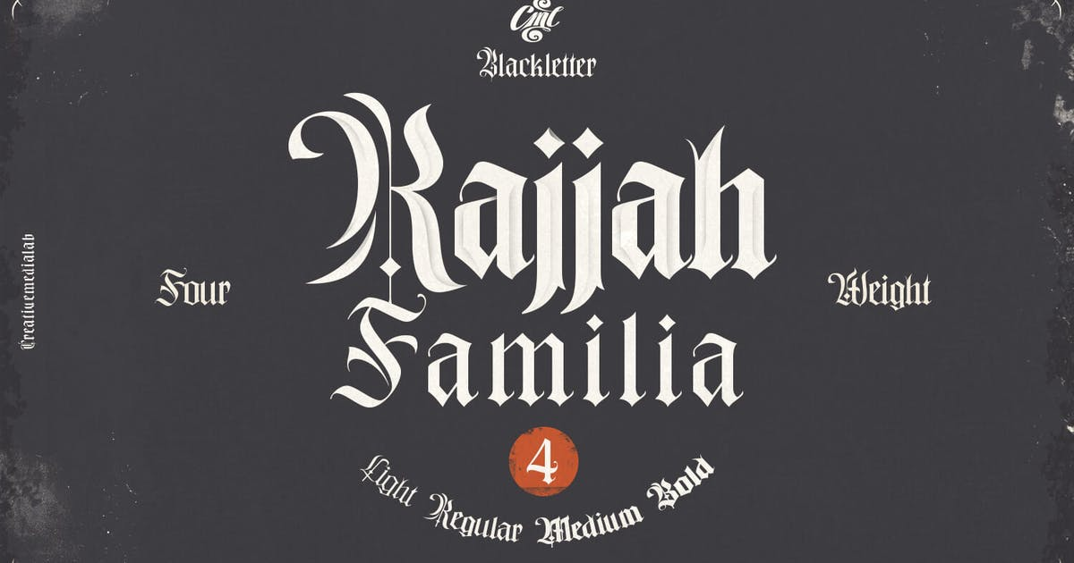 Download Rajjah Familia - Blackletter Font Family by creativemedialab