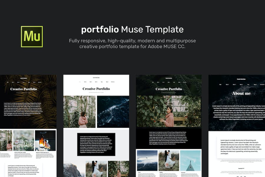 Portfolio Muse RWD Template + Gallery Widget