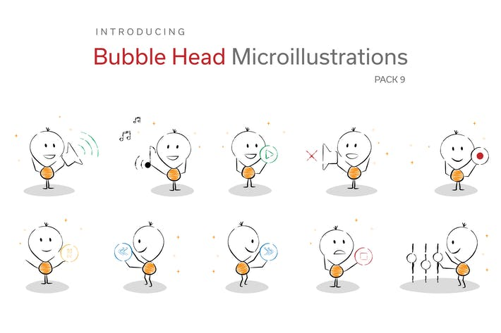 Thumbnail for Bubble Head Micro Illustrations - Music Controls