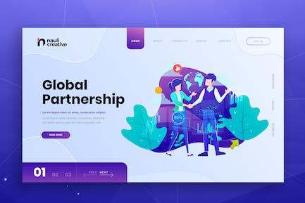 Global Partnership Web PSD and AI Vector Template
