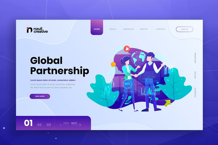 Thumbnail for Global Partnership Web PSD und AI Vektor Vorlage