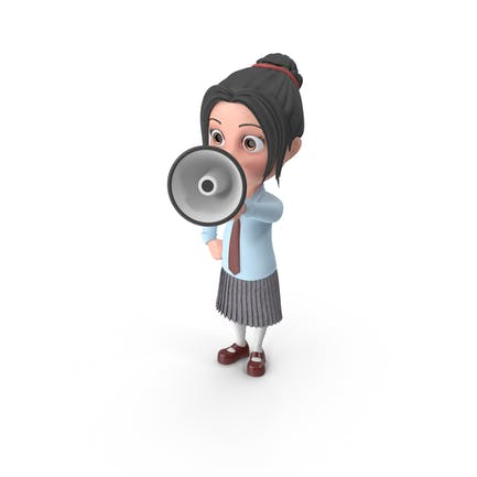 Cartoon Mädchen Emma halten Lautsprecher
