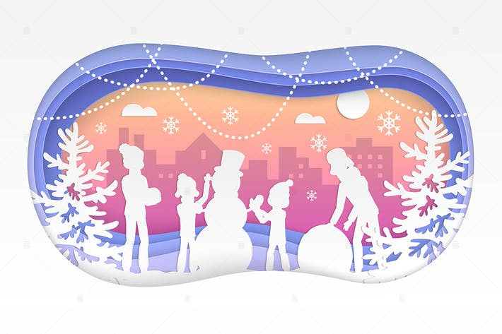 Thumbnail for Winter fun - modern paper cut illustration